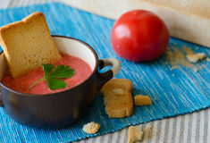 Sopa do tomate com queijo fotografia de stock royalty free
