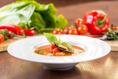 Sopa do tomate do marisco Foto de Stock Royalty Free