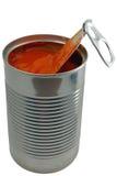 Sopa do tomate em uma lata Fotos de Stock Royalty Free