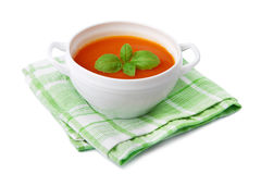 Sopa do tomate isolada Fotografia de Stock Royalty Free