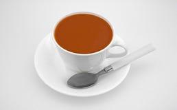 Sopa do tomate na colher dos pires do copo na placa de corte branca Fotografia de Stock