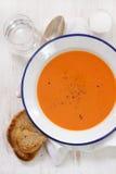 Sopa do tomate na placa branca Fotos de Stock Royalty Free