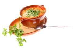 A sopa do tomate, salsa isolou o fundo branco Fotografia de Stock