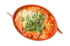 A sopa do tomate, salsa isolou o fundo branco Foto de Stock Royalty Free