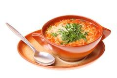 A sopa do tomate, salsa isolou o fundo branco Imagens de Stock Royalty Free