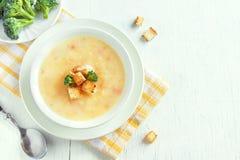 Sopa do vegetal e do queijo fotografia de stock royalty free