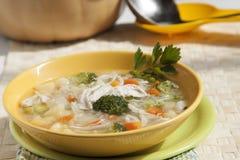 Sopa dos brócolis com galinha, cenouras, batatas e salsa no yel Imagens de Stock