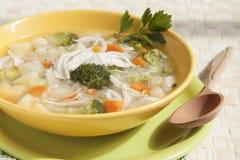 Sopa dos brócolis com galinha, cenouras, batatas e salsa no yel Fotos de Stock