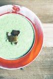 Sopa dos brócolis com pão roasted Fotografia de Stock