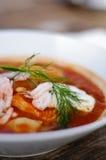 Sopa dos peixes com molho de aioli Fotos de Stock Royalty Free