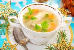 Sopa dos peixes da carpa para o Natal foto de stock