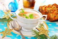 Sopa dos peixes da carpa para o Natal fotografia de stock