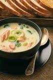 Sopa dos peixes da sopa de peixe com truta arco-íris fotografia de stock royalty free