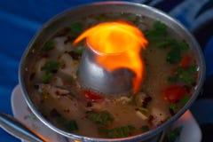 Sopa dos peixes de Tom Yum com luz imagem de stock