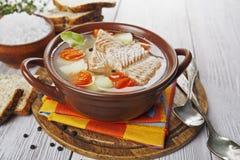 Sopa dos peixes na bacia imagem de stock royalty free