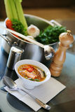 Sopa dos peixes na cozinha Foto de Stock Royalty Free