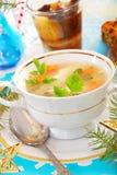 Sopa dos peixes para o Natal fotografia de stock royalty free