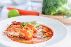 Sopa e camarão quentes e ácidos Imagem de Stock Royalty Free