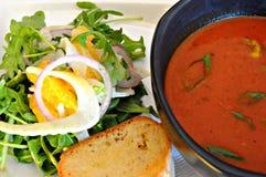 Sopa e salada Imagens de Stock Royalty Free
