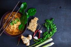 Sopa e vegetais de macarronetes imediatos picante em um fundo preto imagens de stock royalty free
