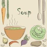 Sopa e vegetais do vegetariano Ilustração do Vetor