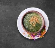 Sopa egipcia de Molukhia, verduras verdes Fotos de archivo libres de regalías