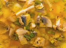 sopa en un cuenco con los champiñones frescos Foto de archivo