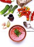 Sopa española del gazpacho del tomate rojo fresco Imagenes de archivo