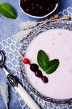 Sopa fría del rosa de la lechería fotografía de archivo libre de regalías