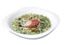 Sopa fría del yogur del verano con el rábano, el pepino, y el eneldo en el fondo blanco Okroshka Fotos de archivo