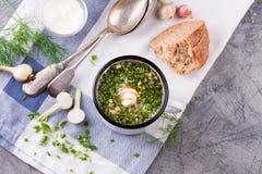 Sopa fría Okroshka en taza del esmalte e ingredientes crudos en la tabla de piedra gris imagen de archivo