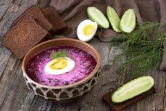 Sopa fría tradicional de la remolacha con las verduras Foto de archivo libre de regalías