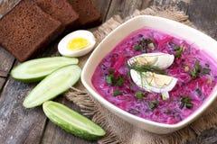Sopa fría tradicional de la remolacha con las verduras Imagenes de archivo