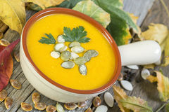 Sopa francesa de la calabaza Imagenes de archivo