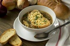Sopa francesa de la cebolla fotografía de archivo libre de regalías