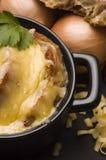 Sopa francesa de la cebolla con los ingredientes Imagenes de archivo
