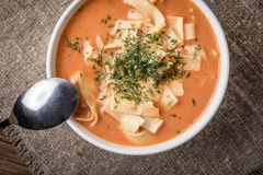 Sopa fresca del tomate con arroz fotografía de archivo libre de regalías