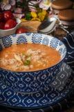 Sopa fresca del tomate con arroz imagenes de archivo