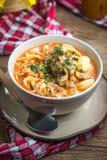 Sopa fresca del tomate con conchigliette imagen de archivo
