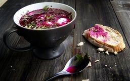 Sopa fria da beterraba com pão fotografia de stock royalty free