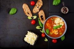 Sopa grossa do tomate com carne, os cogumelos e aipo triturados Fotos de Stock