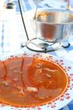 Sopa húngara de los pescados en la placa imagen de archivo libre de regalías