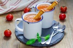 Sopa hecha en casa de la albahaca del tomate en la taza Imagen de archivo libre de regalías