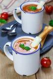 Sopa hecha en casa de la albahaca del tomate en la taza, servida con el palillo del queso de la mozzarella Fotos de archivo libres de regalías