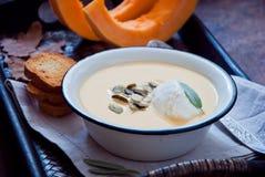 Sopa hecha en casa de la calabaza Fotografía de archivo libre de regalías