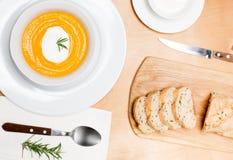 Sopa hecha en casa de la crema de la calabaza de otoño Fotografía de archivo
