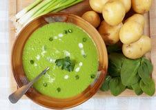 Sopa hecha en casa de la patata y de la espinaca Fotografía de archivo