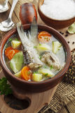 Sopa hecha en casa de los pescados del río en el cuenco Fotografía de archivo libre de regalías