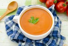 Sopa hecha en casa del tomate Fotografía de archivo