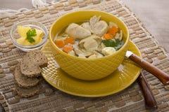 Sopa italiana com massa da galinha e do cogumelo Fotografia de Stock Royalty Free